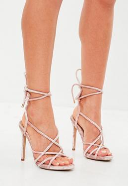 Pink Velvet Gladiator Heeled Sandals
