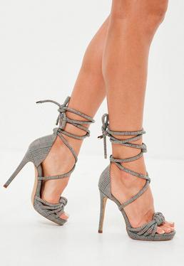 Gray Plaid Knotted Front Platform Sandals