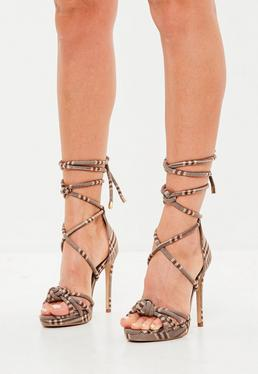 Brown Check Knotted Front Platform Sandals