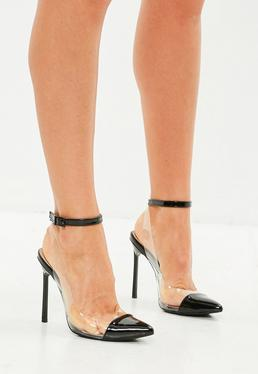 Black Toe Cap Perspex Ankle Tie Pumps