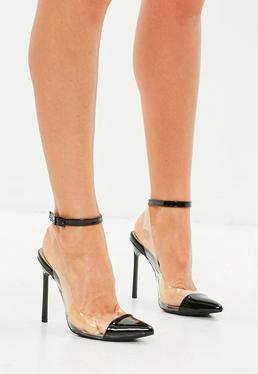 Czarne błyszczące buty na szpilce