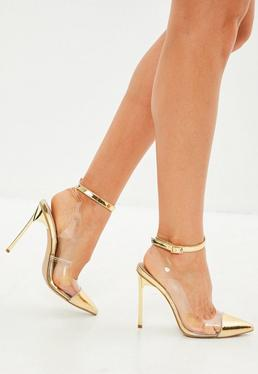 Gold Toe Cap Clear Ankle Tie Court Heels