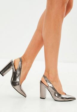 Silver Pointed Slingback Pumps