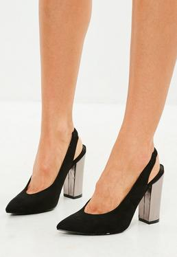 Black Pointed Slingback Court