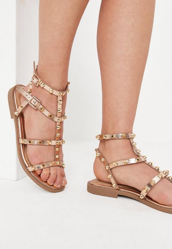 rose gold dome stud gladiator sandals missguided. Black Bedroom Furniture Sets. Home Design Ideas