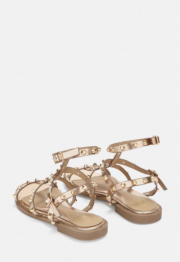 208251b969941c Rose Gold Dome Stud Glatiator Sandals. Previous Next