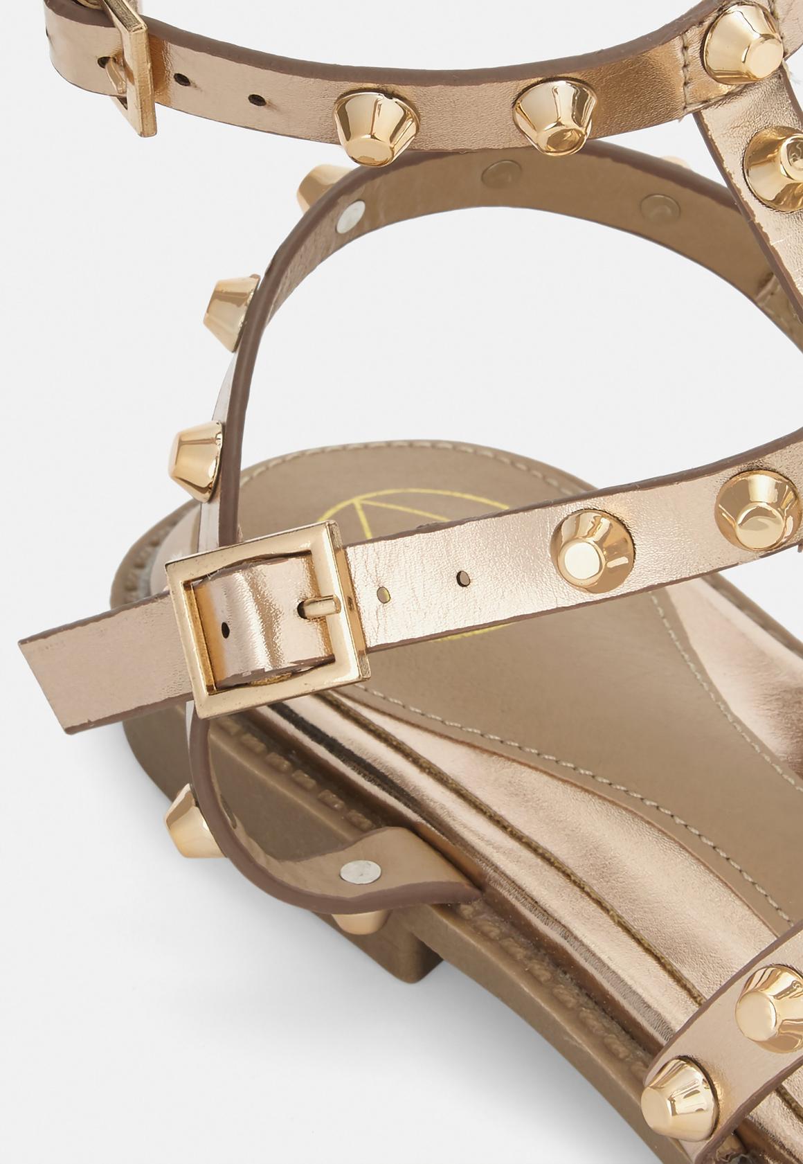 ec305d7bb595d6 Missguided - Rose Gold Dome Stud Gladiator Sandals