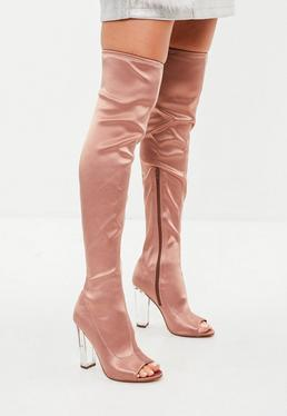 Nude Satin Perspex Heeled Boots