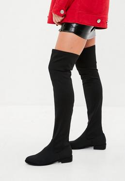 Botas altas de lycra en negro