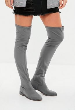 Grey Over The Knee Flat Sole Boots