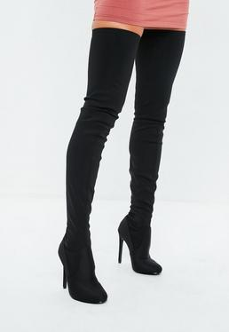 Black Round Toe Over The Knee Lycra Heeled Boots