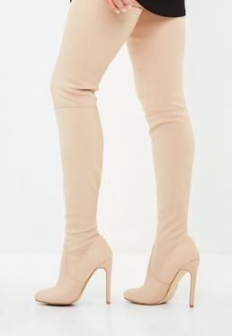 Nude Round Toe Over The Knee Heeled Boots