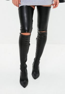 Czarne kozaki za kolano na szpilce
