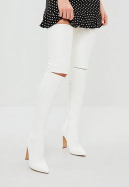 White Slashed Detail Over The Knee Boot