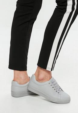 Gray Matte Faux Leather Lace Up Sneakers