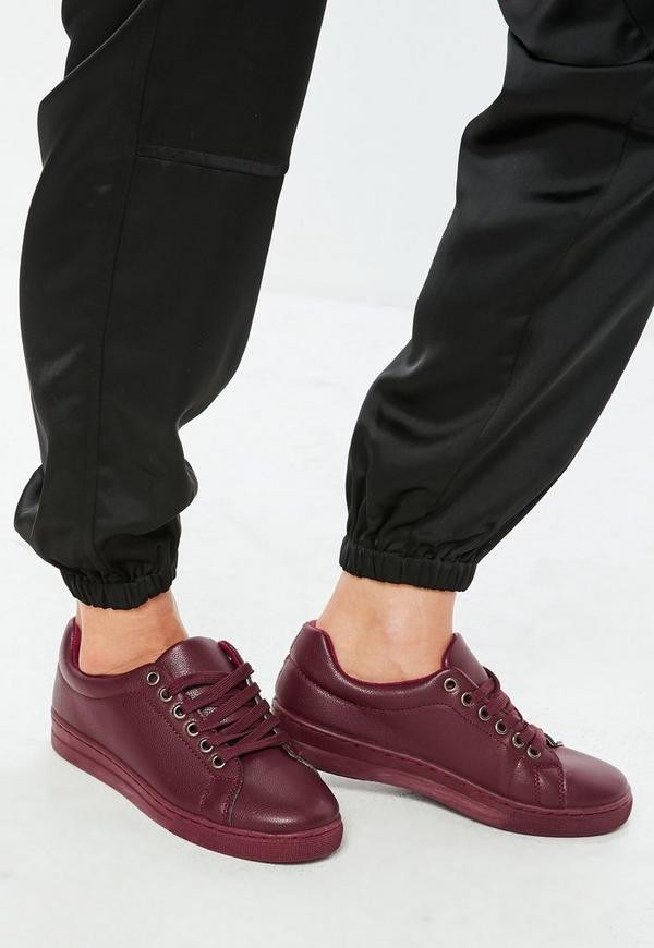 Red Matte Faux Leather Lace Up Trainers by Missguided