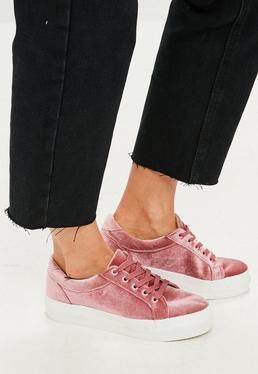 Zapatillas con plataforma de terciopelo en rosa
