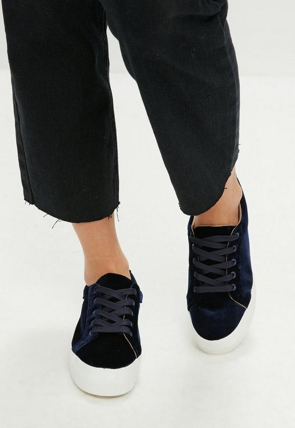 Navy Velvet Platform Trainers by Missguided