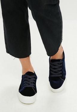 Zapatillas con plataforma de terciopelo en azul marino