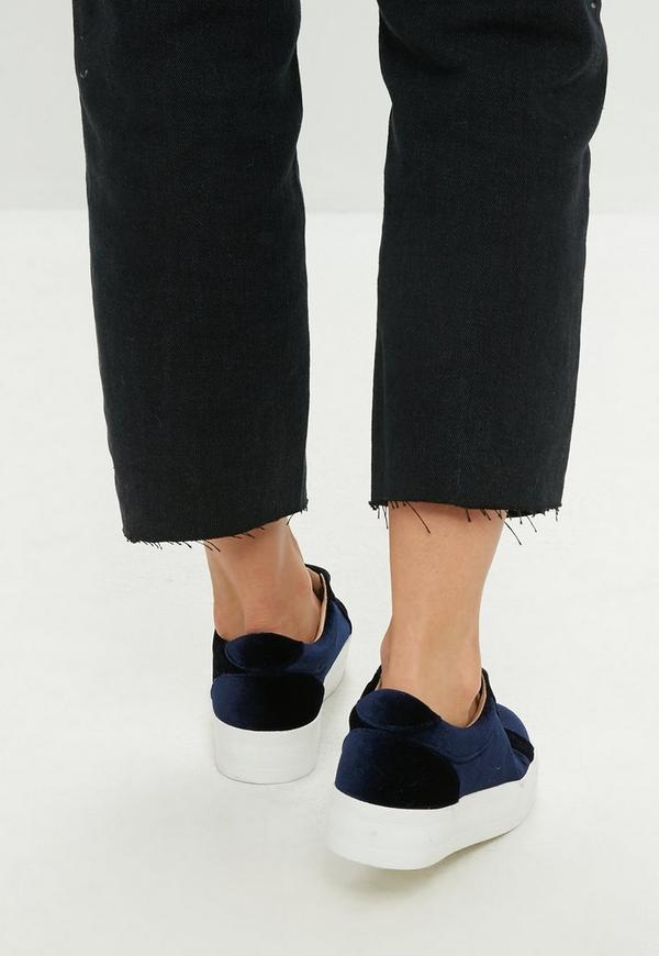navy-velvet-platform-trainers by missguided