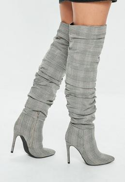 Gray Ruched Check Print Pointed Boots