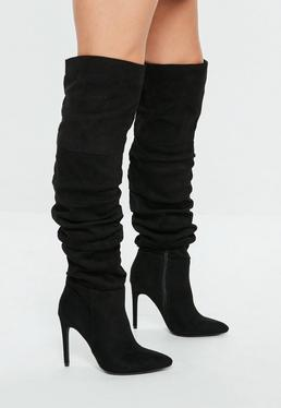Black Ruched Over The Knee Pointed Heeled Boots
