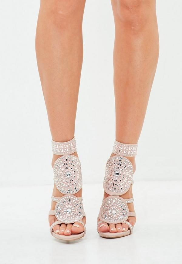 3610c60876066 MISSGUIDED. PEACE + LOVE NUDE DIAMANTE EMBELLISHED HEELED SANDALS