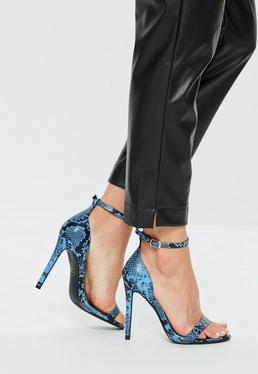 Blue 2 Strap Barely There Faux Snake Sandals