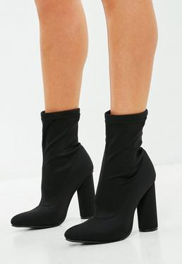 Black Neoprene Block Heeled Boots