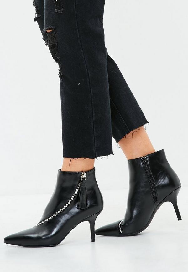 872834bad5f2 black-asymmetric-zip-kitten-heel-ankle-boots by missguided