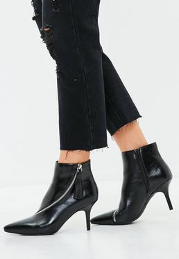Black Asymmetric Zip Kitten Heel Ankle Boots