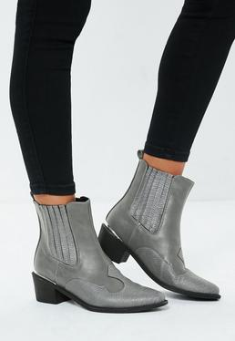 d2785ba07a5 Gray Snakeskin Western Heeled Ankle Boots