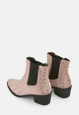 Pink All Over Studded Velvet Western Boots
