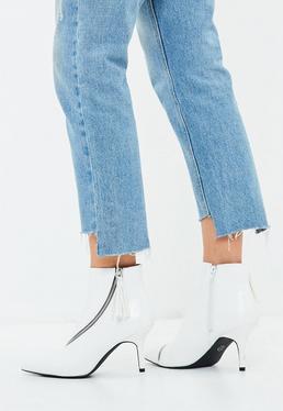 White Asymmetric Zip Kitten Heel Ankle Boots