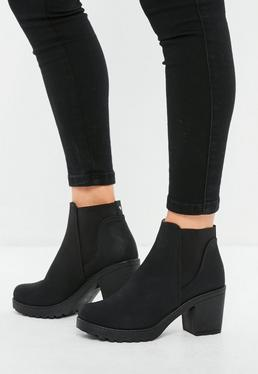 Black Nubuck Chelsea Ankle Boots