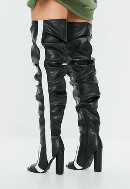 Botas hasta las rodillas fruncido con peep toe a rayas en negro