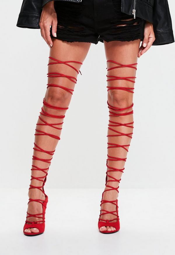 Red Lace Up Knee High Gladiator Sandals