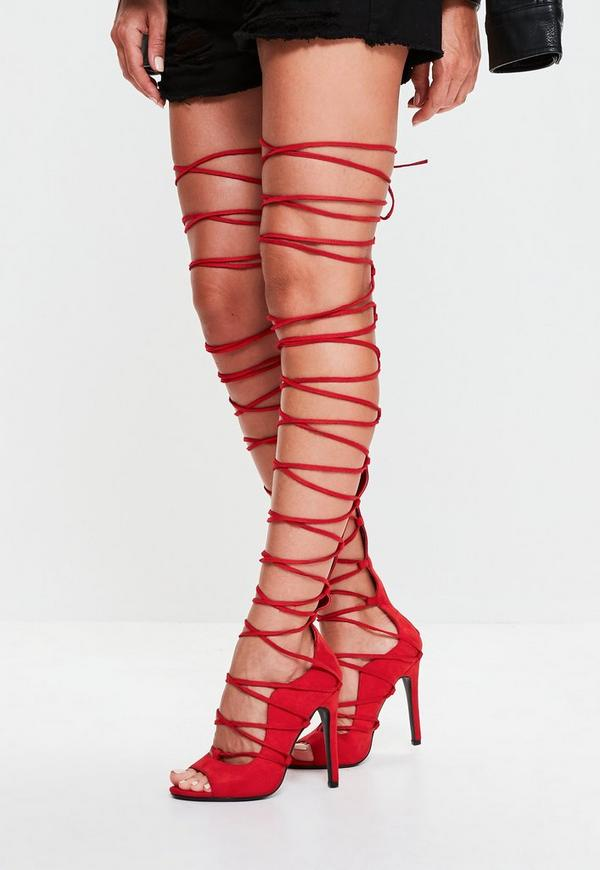 Red Lace Up Knee High Gladiator Sandals | Missguided