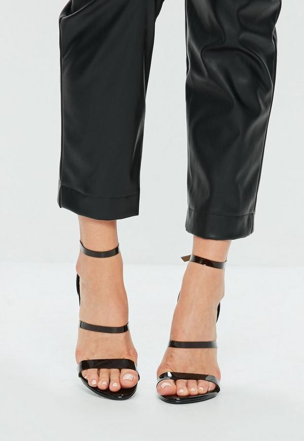 schwarze high heels mit 3 riemchen missguided. Black Bedroom Furniture Sets. Home Design Ideas