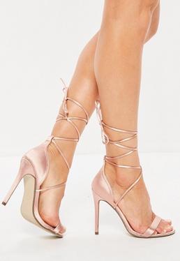 Różowe satynowe wiązane szpilki sandały