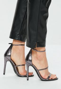 Pewter Metallic Three Strap Barely There Heels