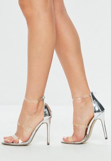 silberne high heels mit transparenten riemchen missguided. Black Bedroom Furniture Sets. Home Design Ideas