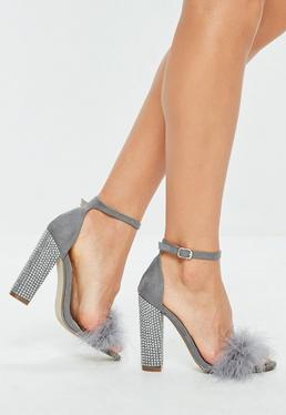 Grey Feather Strap Glitter Block Heels