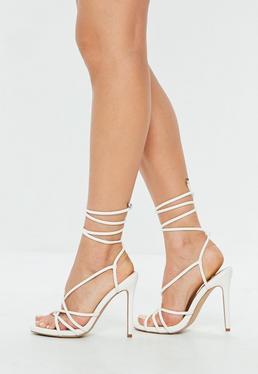 Białe wiązane sandały szpilki gladiatorki