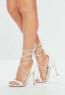 White Lace Up Barely There Heels