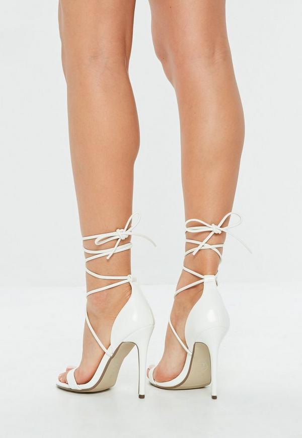 White Lace Up Barely There Heels Missguided Ireland