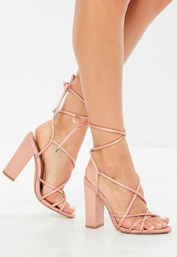 Pink Satin Multi Strap Block Heels by Missguided