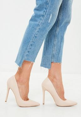 Nude Faux Leather Pointed Pumps