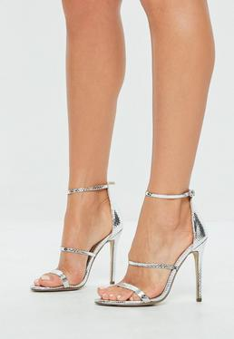 Silver Metallic Three Strap Barely There Heels