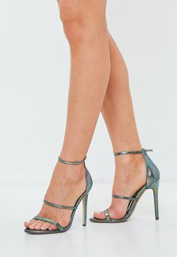 Green Metallic Three Strap Barely There Heels